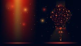 Linterna china del wireframe abstracto del vector ejemplo moderno 3d en fondo rojo oscuro El arte poligonal bajo de la malla pare stock de ilustración