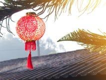 Linterna china en árbol de pino sobre el tejado Backgro chino del Año Nuevo Fotos de archivo libres de regalías
