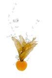 Linterna china en agua con las burbujas de aire foto de archivo libre de regalías