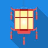 Linterna china en sombra larga ilustración del vector