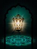 Linterna de Diwali que brilla sobre fondo oscuro