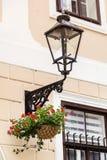 Linterna de la calle con las flores del geranio Foto de archivo