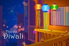 Linterna de la ejecución de Diwali con el contexto del fuego artificial ilustración del vector