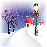 Linterna de la Navidad de la aldea Fotos de archivo libres de regalías