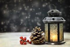 Linterna de la Navidad y decoración natural Imagen de archivo libre de regalías