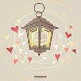 Linterna de la tarjeta del día de San Valentín Fotografía de archivo