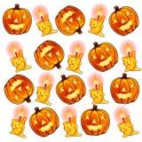 Linterna de las calabazas y velas ardientes para Halloween Foto de archivo