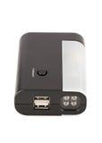 Linterna de LED negra con los accesos de USB Fotografía de archivo