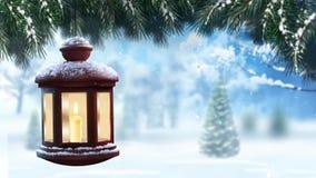 Linterna del invierno en lazo de la nieve 4k libre illustration