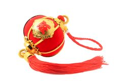 Linterna esférica roja de la forma para la decoración china del Año Nuevo aislada en blanco Imagen de archivo libre de regalías