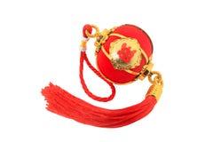 Linterna esférica roja de la forma para la decoración china del Año Nuevo aislada en blanco Imagenes de archivo