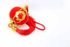 Linterna esférica roja de la forma para la decoración china del Año Nuevo sobre el fondo blanco Imágenes de archivo libres de regalías