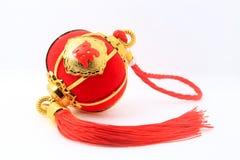 Linterna esférica roja de la forma para la decoración china del Año Nuevo sobre el fondo blanco Foto de archivo
