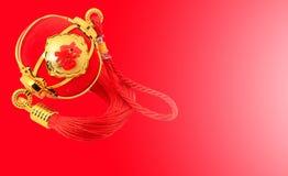 Linterna esférica roja de la forma para la decoración china del Año Nuevo sobre fondo rojo Imagen de archivo libre de regalías