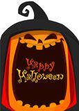 Linterna fantasma tallada calabaza anaranjada de Jack O para adorne la tarjeta de felicitación, cartel, bandera en el festival de libre illustration