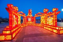 Linterna festiva - Feliz Año Nuevo del mono de oro Imagen de archivo