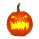 Linterna iluminada de Halloween Jack o aislada en blanco Fotografía de archivo