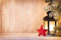 Linterna Luz de la Navidad, decoración de la Navidad y escena Imágenes de archivo libres de regalías