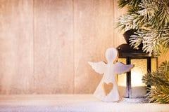 Linterna Luz de la Navidad, decoración de la Navidad y escena Foto de archivo libre de regalías