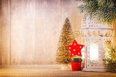 Linterna Luz de la Navidad, decoración de la Navidad y escena Imagen de archivo
