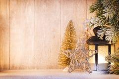 Linterna Luz de la Navidad, decoración de la Navidad y escena Fotografía de archivo libre de regalías