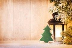 Linterna Luz de la Navidad, decoración de la Navidad y escena Imagen de archivo libre de regalías