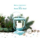 Linterna Nevado y bolas azules de la Navidad Imagenes de archivo