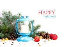 Linterna Nevado y bolas azules de la Navidad Fotografía de archivo libre de regalías