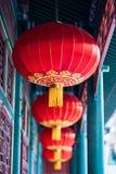 Linterna roja china con el modelo amarillo y de oro Fotografía de archivo libre de regalías