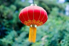 Linterna roja china con el modelo amarillo y de oro Foto de archivo