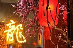 Linterna roja china del Año Nuevo con el flor del ciruelo en centro comercial imagen de archivo