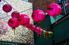 Linterna roja en el Año Nuevo chino de Chinatown Londres Fotos de archivo libres de regalías