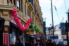Linterna roja en el Año Nuevo chino de Chinatown Londres Fotografía de archivo