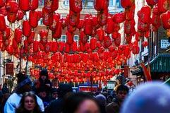 Linterna roja en el Año Nuevo chino de Chinatown Londres Foto de archivo libre de regalías