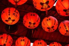Linterna roja en Taiwán y China, decoración del templo fotografía de archivo