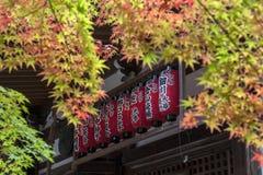 Linterna roja japonesa en Sekizan Zen-en, templo japonés en Kyoto Fotografía de archivo