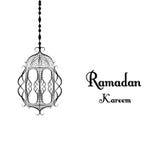 Linterna tradicional blanco y negro de la tarjeta de felicitación hermosa del Ramadán Ramadan Kareem con la caligrafía árabe que  Fotografía de archivo