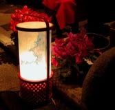 Linterna y flores en el nig Imagen de archivo libre de regalías