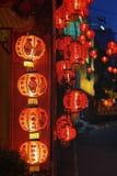 Linternas chinas del Año Nuevo con el texto de la bendición Fotos de archivo libres de regalías