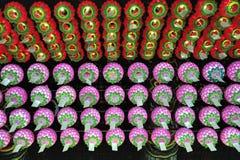 Linternas chinas en el techo del templo de Bongeunsa Foto de archivo