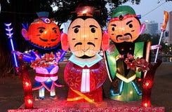 Linternas chinas en la forma de tres hombres sabios Foto de archivo libre de regalías