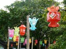 Linternas chinas en los jardines botánicos en Montrea Foto de archivo
