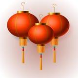 Linternas chinas orientales del Año Nuevo, fondo blanco, ejemplo del vector