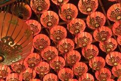 Linternas chinas rojas Imagenes de archivo