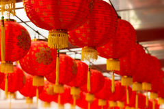 Linternas chinas rojas Foto de archivo