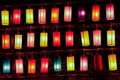 Linternas coloridas de la tela Fotos de archivo