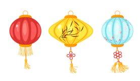 Linternas coloridas del papel chino ilustración del vector