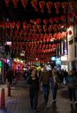 Linternas de Chiantown en la noche imágenes de archivo libres de regalías