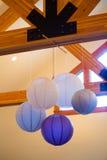 Linternas de papel grises y púrpuras Imagenes de archivo