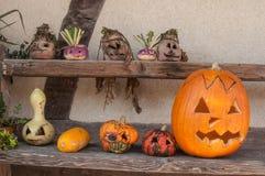 Linternas decorativas de las calabazas para Halloween Foto de archivo